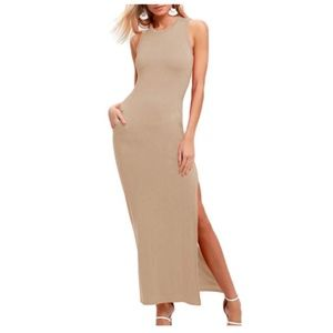 Women's Sexy Summer Bodycon Sleeveless Side Slit